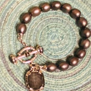 Heavy Brown Pearl Amber stone Statement bracelet